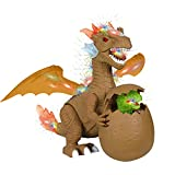 Juguetes De Dinosaurio Para Niños, Juguete Eléctrico De Dinosaurio Con Huevo De Dinosaurio, Regalos De Dragón Realista Con Rugido, Spitfire Simulado Brillante, Regalo Para Niños Niñas Niños,Marrón
