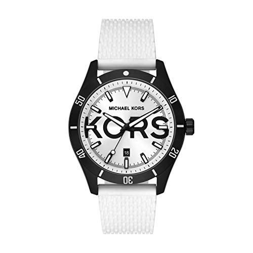 Michael Kors Men's Layton Stainless Steel Three-Hand Date Watch with Silicone Strap, White, 22 (Model: MK8893)