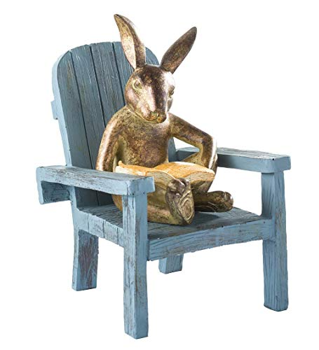 """Plow & Hearth Reading Rabbit Garden Statue, Cast Bronze-Like Resin, Garden Accent, All-Weather, Whimsical Indoor/Outdoor Statue, Resin and Stone Powder, 5¾""""L x 6"""" W x 9¼""""H"""