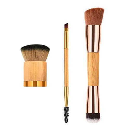 Lurrose 3 pcs Maquillage Pinceau Doux Nylon Soies Premium Bambou Poignée Blush Pinceau Poudre Pinceau Cosmétiques Brosse pour Femmes Dames Filles