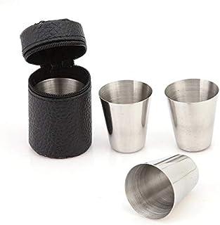 FUNXS Juego de 4 Tazas de Taza de Taza de Acero Inoxidable Set de Cubiertos de