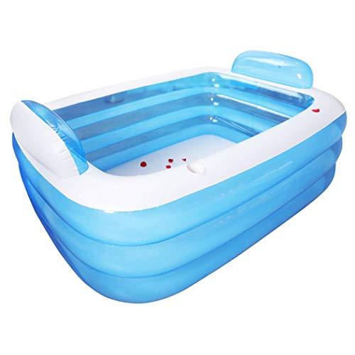 Aufblasbarer Pool für Familienwasser, rechteckig, für Garten, Hof, Sommerparty 150x105x55cm blau