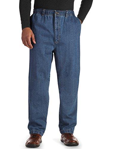 Harbor Bay by DXL Big and Tall Full Elastic Jeans, Stonewash 1XL 34