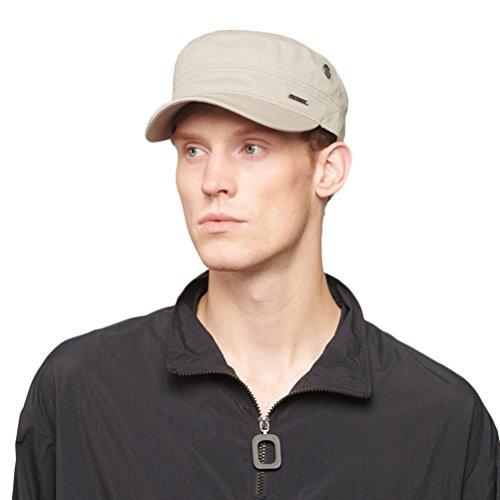 CACUSS Gorra Militar de algodón con Gorra de cadete Militar, con Parte Superior Plana, Gorra de béisbol Ajustable para Hombres P0065_Beige Un tamaño