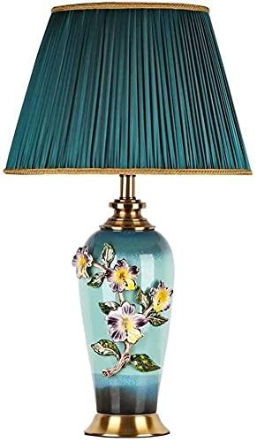 Mu Mianhua Lámpara de Mesa Chino Esmalte de cerámica Verde sombreado lámpara de Mesa Sala de Estar Dormitorio lámpara de Noche Decoraciones de Hotel Europeo 40x69 cm