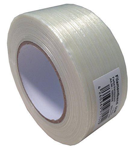 2 Rollen Filamentband Filament Klebeband a 50mm x 50m Glasfaserverstärkt Packband reißfest Filamentklebeband