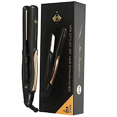 "JINRI 0.8"" Titanium Hair Straightener, Small Lightweight & Portable Flat Iron for Short Hair, Dual Voltage Straightening Iron, Travel Size, Black"