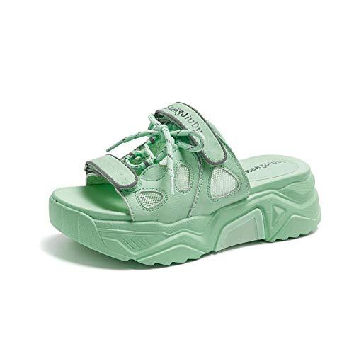 COQUI Zapatillas de Verano Hombre,Pastel de canción Zapatillas de Abajo Gruesas Sandalias Femeninas Hembra-Verde Claro_39