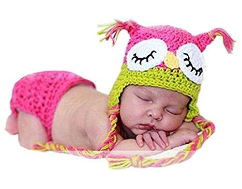 Baby-Fotografie-Requisite, gehäkelt, gestrickt, Eulenmütze, Windel