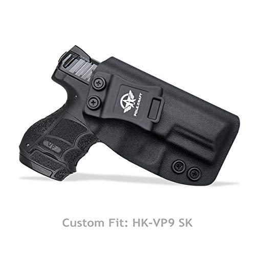 PoLe.Craft HK VP9SK Holster, Kydex Holster for Heckler & Koch (H&K) VP9SK IWB Holster Concealed Carry - Inside Waistband Carry Concealed Holster VP9 SK Case Cover Accessories (Black, Right Hand Draw)