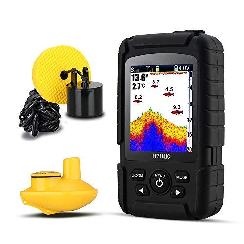 Rawall-hom Fischfinder Tragbare Wireless/Kabel-Fisch-Sucher mit Zwei Sonar-Sensoren LCD-Anzeige Angelwerkzeuge (Farbe : Black, Size : One Size)