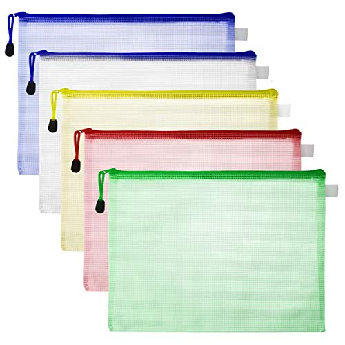 Jyongmer 20 Pack Mesh Zipper File Bags, A4 Size Zip Document Holder, 5 Color Waterproof Document Pouch File Folders for Travel Storage Bags & School Office Supplies