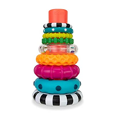 Sassy Stacks of Circles Stacking Ring STEM Learning Toy, 9 Piece Set, Age 6+ Months by Sassy Baby, Inc