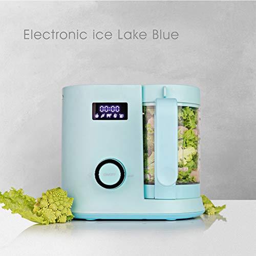 HBIAO Baby-Küchenmaschine, Multifunktionales Schleifwerkzeug Kochen Mischen und Entsaften von Saft All-In-One-Maschine mit LED-Anzeige,Blau