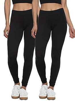 Felina Velvety Super Soft Lightweight Leggings 2-Pack - for Women - Yoga Pants Workout Clothes  Black Medium