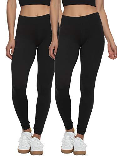 Felina Velvety Super Soft Lightweight Leggings 2-Pack - for Women - Yoga Pants, Workout Clothes (Black, Large)