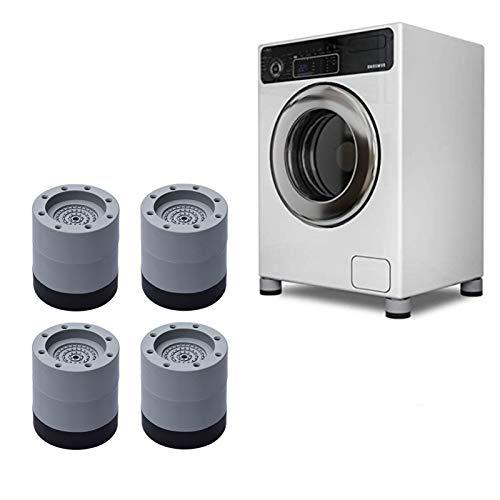 Bia Tobias 4 st tvättmaskinsfötter dynor, halkfri anti-vibration tyst gummifötter matta för tvättmaskin torktumlare maskin kylskåp höj höjd minska ljud (6 cm set)
