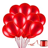 U_star 100 Pack Red Balloons, 12inches Premium Helium Quality Red Balloons Red Shiny Latex Balloons for Party Supplies and Decorations(with Red Ribbon)