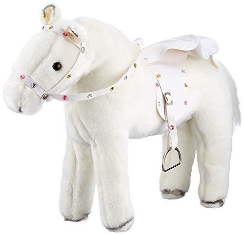 Götz 3401485 Weißer Blitz Pferde-Puppe - biegsames Plüschpferd mit Soundchip für Stehpuppen - für Kinder ab 3 Jahren