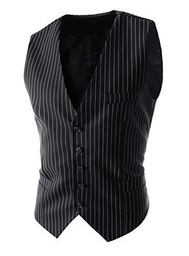 DSSJG Vests for Men Slim Fit Mens Suit Vest Male Waistcoat Business Slim Fit Vest Solid Color Sleeveless (Color : Black, Size : L.)