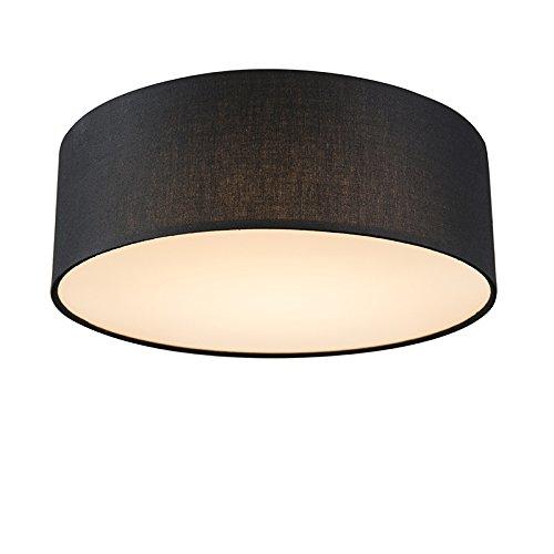 QAZQA Modern Deckenleuchte/Deckenlampe/Lampe/Leuchte schwarz 30 cm inkl. LED - Drum mit Schirm LED/Innenbeleuchtung/Wohnzimmerlampe/Schlafzimmer/Küche Textil/Stahl Rund / (nicht austaus