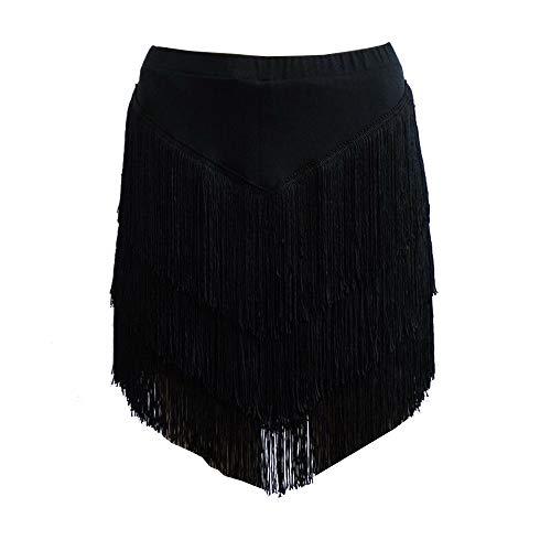 YOUMU Damen Lateinischer Rock Tango Rumba Dancewear Ballroom Fransen Quasten mit Shorts Innen (A-Schwarz, Tag M/Waist 27.6