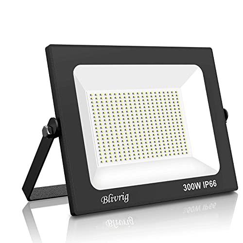 focos led exterior,Blivrig 300W LED Foco Exterior de alto brillo,30000LM Impermeable IP66 Proyector Foco LED, Led Foco Exterio para Patio, Camino, Jardín (Blanco frio, 300W)