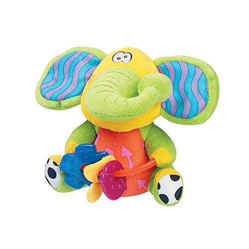 Playgro Hochet en Peluche Éléphant, Avec Anneaux de Dentition, Sans BPA, À partir de 3 Mois, Zany Zoo Playmate Elephant, Vert/Jaune, 40128