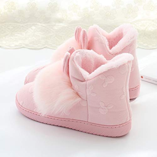 TEELONG Cute Slippers Boots for Womens, Girls Warm Winter Slippers Comfortable Indoor Home Shoes Soft Plush Ball Interior Boots Ladies Cartoon Boots 2019 Winter Flat Shoes Pink