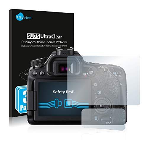 savvies Protector Pantalla Compatible con Canon EOS 80D (6 Unidades) Pelicula Ultra Transparente