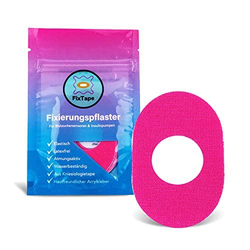 FixTape atmungsaktives Sensor-Tape für Freestyle Libre 1 & 2 I selbstklebendes Patch mit Loch für Glukose-Sensor I besonders hautfreundlich und wasserfest in modernen Designs I 7 Stück (Pink)