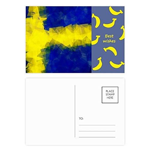 DIYthinker Schwedisch Abstrakte Flaggege Muster Banane Postkartenset dankt Karte Mailing Side 20pcs 5.7 Zoll x 3.8 Zoll Mehrfarbig