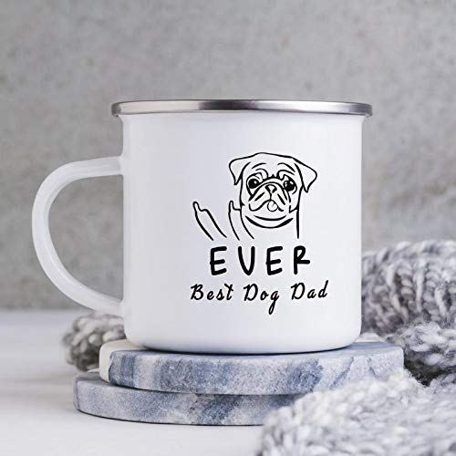 EVER BEST DOG DAD Enamel Camping Coffee Mugs Resusable & Portable Enamel Campfire Tin Mugs 10 oz Metal Enamel Drinking Mugs Cups Ideal for Home/Office/Travel/Camping