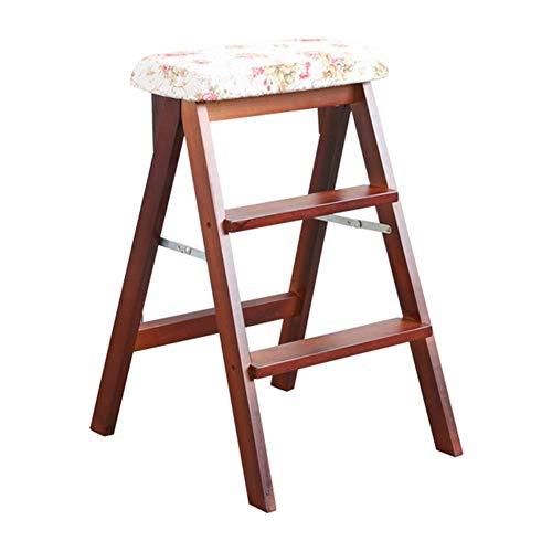 LZQBD Stegpallar, stege pall lager stark vikbar säkerhet halkfri fotdyna dubbel användning stege stol andra beställningen, massivt trä, E, 42 x 48 x 63 cm