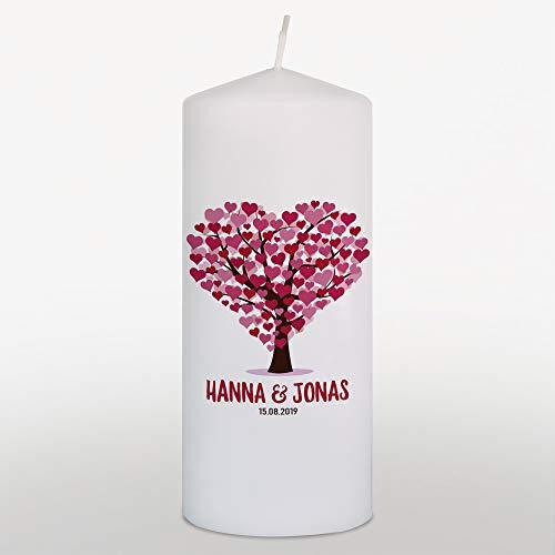 Hochzeitskerze mit Namen und Datum Lebensbaum Bordeaux Rot, Traukerze Hochzeit, Weiß