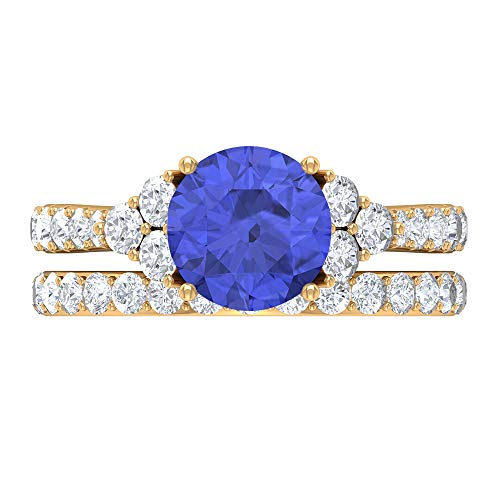 Conjunto de anillos de novia de rubí, piedras preciosas redondas de 3,30 quilates, anillo de compromiso de tanzanita D-VSSI de 8 mm, anillo de catedral solitario, 14K Oro amarillo, Size:EU 63