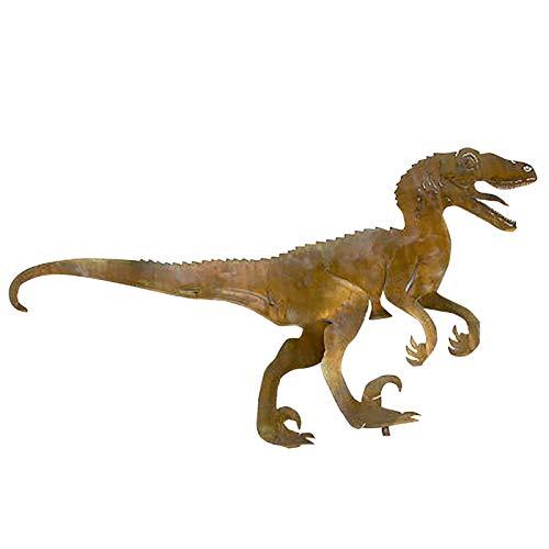 Velociraptor Dinosaur Decorative Art Silhouette Metal Animal Courtyard Decor Garden Statue Sculpture Patio Lawn Art Sign Metallic Outdoor Home Office Ornaments (L: 29.1 x 19.6 inch)