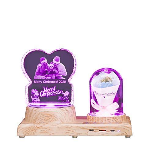 Personalisiertes Licht Bluetooth Musik Licht Weihnachten & Rose 3D Kristalllicht Benutzerdefinierte Fotolicht Laser Ätztischlampe(Merry Christmas Blue Rose)