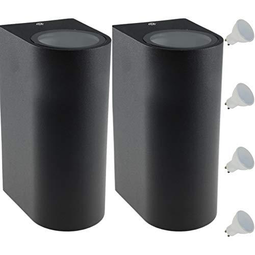 LED Wandleuchte Innen/Außen Modern Up&Down Wandlampe aus Aluminium Haustür Terrasse Balkon Wohnzimmer Treppenhaus Flur Warmweiß/Neutralweiß (2 Stück Warmweiß) Anthrazit