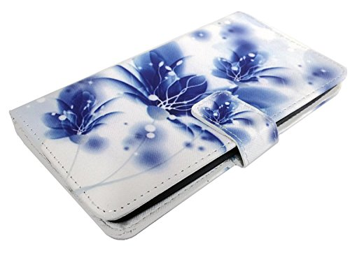 For ZTE Z988 Z962 Z962G Z962BL Z963VL Z963 Grand X Max 2 Imperial Max Duo Z963U Wallet Card Phone Cover Case + Gift Stand (Wallet Blue Lotus)