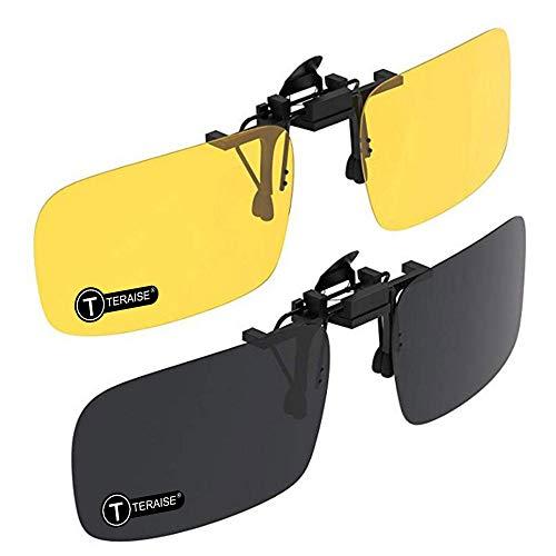 TERAISE Clip auf Sonnenbrille, 2er Pack/Tag + Nachtsicht Männer/Frauen UV400 Flip-Up polarisierte Sonnenbrille, Bequeme und sichere Pa