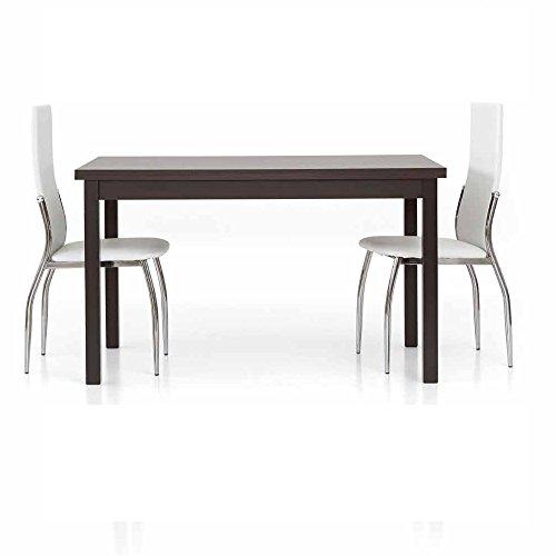 InHouse srls Table en chêne wengé foncé comportant 2 rallonges DE 40 cm, Style Moderne, en MDF laminé Structure en Acier - Dim. 130 x 80 x 75
