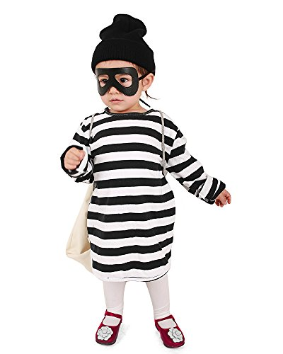 Coskidz Kids Burglar Robber Halloween Cosplay Costume Including Eye Patch Hat and Candy Bag (One Size)