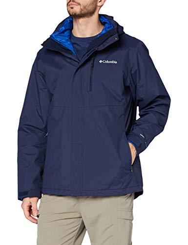 Columbia Wasserdichte Regenjacke für Herren, Element Blocker II Interchange Jacket, Nylon, Blau (Collegiate Navy), Gr. L, 1799412