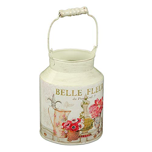 Ambiente Haus Lattiera con Manico Decorativo in Metallo 74507 caraffa in Metallo Fleur Decorativa, Stile retrò, Vintage, Decorazione da Giardino, Colore Panna Antico, Diametro 14 cm, Altezza 27 cm