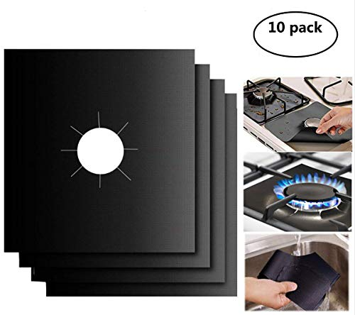 "Gas Stove Burner Covers 10 Pack- XZSUN 0.2mm Double Thickness Reusable Gas Range Protectors For Kitchen&Cooking (10.6""x10.6"")"