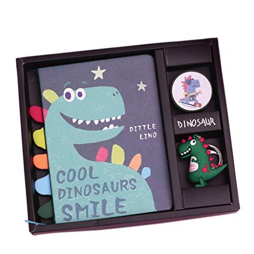 ZRJ Cuaderno de negocios creativo y elegante caja de regalo de dinosaurio,Libro de mano de papel grueso de primera calidad,Regalo de cumpleaños para estudiantes