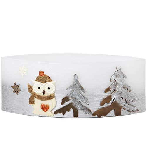 Adpal Kerzenmanufaktur Lampion Ellipse tè Luce 29x 13,5cm di Natale Candela Gufo Motivo Cappello Argento Bianco Candela