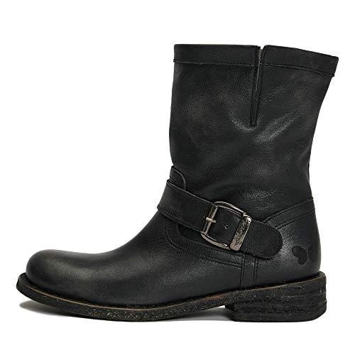 Felmini - Damen Schuhe - Verlieben GREDO 7176 - Cowboy & Biker Stiefel - Echtes Leder - Schwarz - 37 EU Size