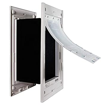 Dragon Wall Pet Door | Double Flap White Frame Medium Flap | Includes Locking Cover | Energy Efficient Sturdy Low Cost | Through Wall Pet Door